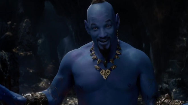Will Smith se tiñe de azul en el nuevo tráiler de Aladdin.