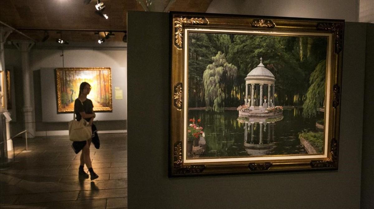 Glorieta a la tarda (Aranjuez), uno de los óleos de jardines de Rusiñol que lucen en la exposición del Museu del Modernisme.