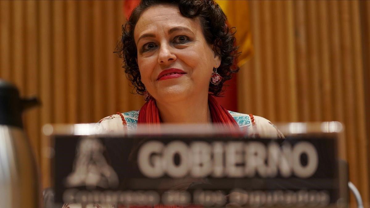 Laministra de Trabajo,Magdalena Valerio,en unaintervención en una comisión en el Congreso de los Diputados.