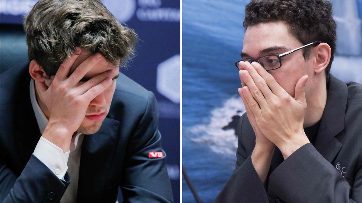 El cara a cara de Carlsen y caruana en el Mundial de Londres.
