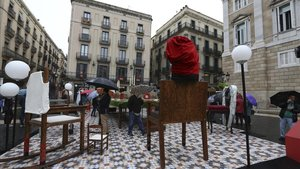 Imagen del pesebre organizado este 2018 por el Ayuntamiento de Barcelona en la plaza de Sant Jaume