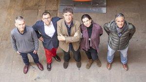 De izquierda a derecha, los premiados Calvo, Mata, Nel·lo, Gurt yPrats.