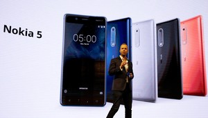 Sarvikas, Chief Product Officer of Nokia-HMD, speaks during presentation ceremony of Nokia 5 device at Mobile World Congress in Barcelona