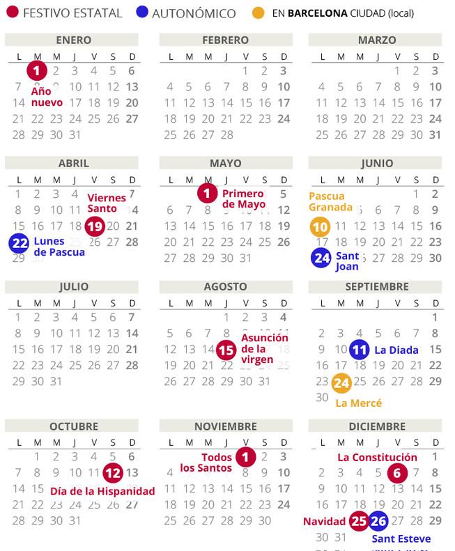 Calendario Laboral De Barcelona Del 2019 Con Todos Los Festivos