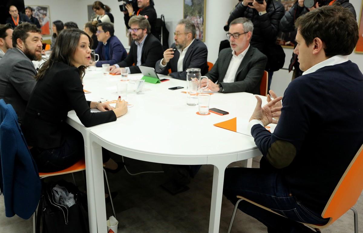 Albert Rivera junto a Inés Arrimadas presidieron La reunión del Comité Permanente de Ciudadanos.
