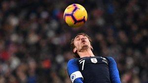 Antoine Griezmann en una imagen de archico con la selección francesa.