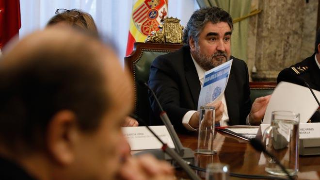 El delegado del Gobierno en Madrid, Jose Manuel Rodríguez Uribes, explica el despliegue policial en Madrid por la final de la Copa Libertadores.