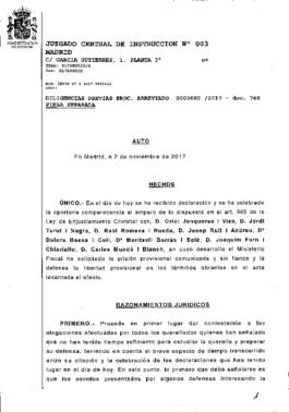 Auto de prisión de Oriol Junqueras y siete 'exconsellers'