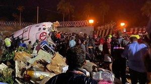 El avión accidentado en el aeropuerto de Calcuta.