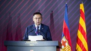 Bartomeu en la asamblea de compromisarios del Barça.