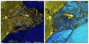 Imágenes del satélite Sentinel 1 que muestran el impacto de 'Gloria' en el Delta.