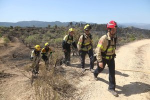 Bomberos en la zona afectada por el incendio de la Ribera d'Ebre, este sábado.