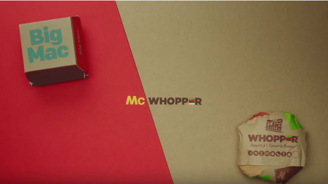 La cadena Burger King lanza una propuesta a McDonalds, el McWhopper.