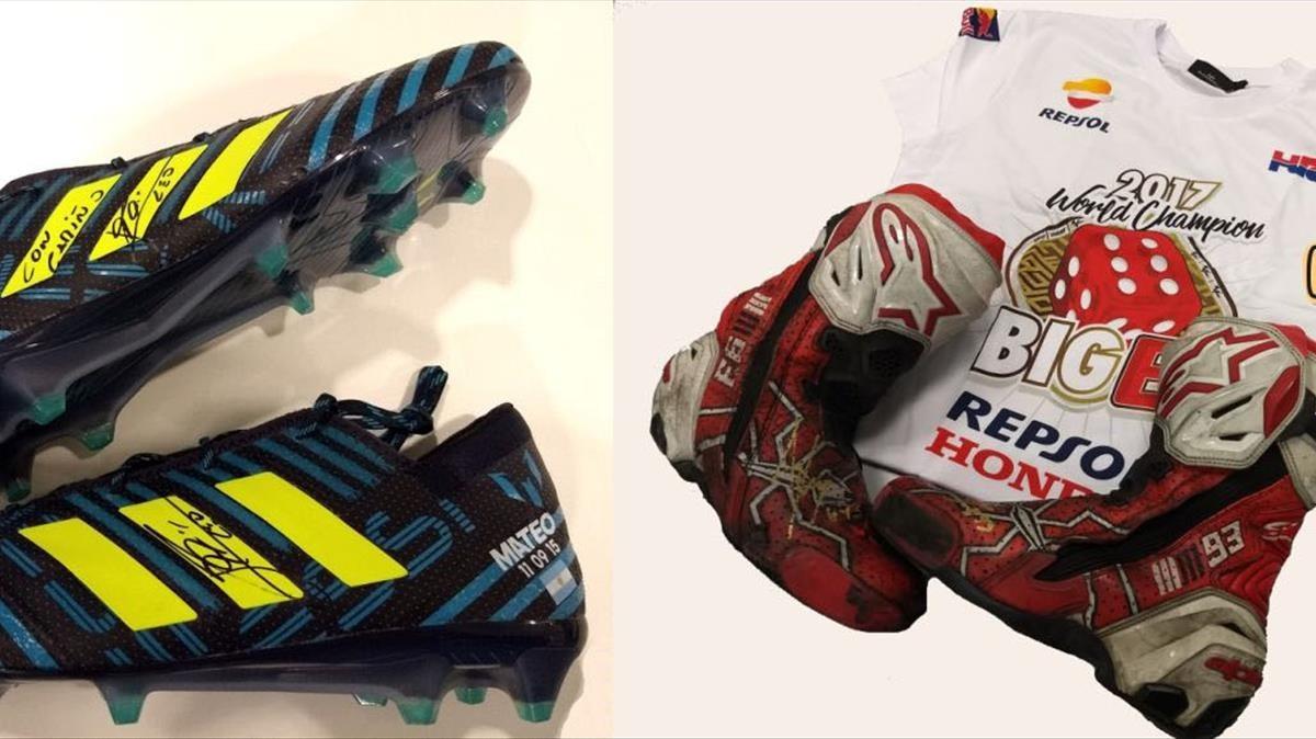 Las botas de Leo Messi y el calzado y la camiseta de Marc Màrquez.