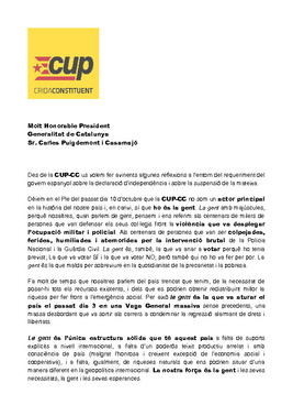 Carta de la CUP a Puigdemont.