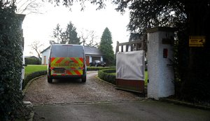 A Cheshire Police scenes of crime vehicle arrives at the home of Manchester United executive vice-chairman Ed Woodward after it was vandalised overnight in Lower Peover, Britain January 29 2020. REUTERS/Phil Noble