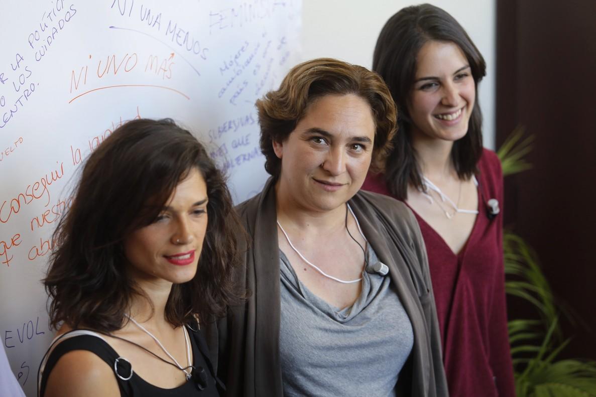 Clara Serra, Ada Colau y Rita Maestre, este martes en Madrid.
