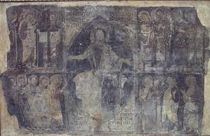 El Cristo Juez, o Pantocrátor, del coro de la iglesia del monasterio de Sijena, actualmente en las reservas del MNAC.