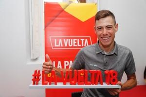David de la Cruz bromea este jueves durante un acto promocional de la Vuelta en Málaga.