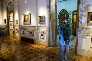 Un empleado traslada una planta de cannabis -de plástico- por la sala Antiguos Maestros del Museo del Cannabis, el martes pasado.