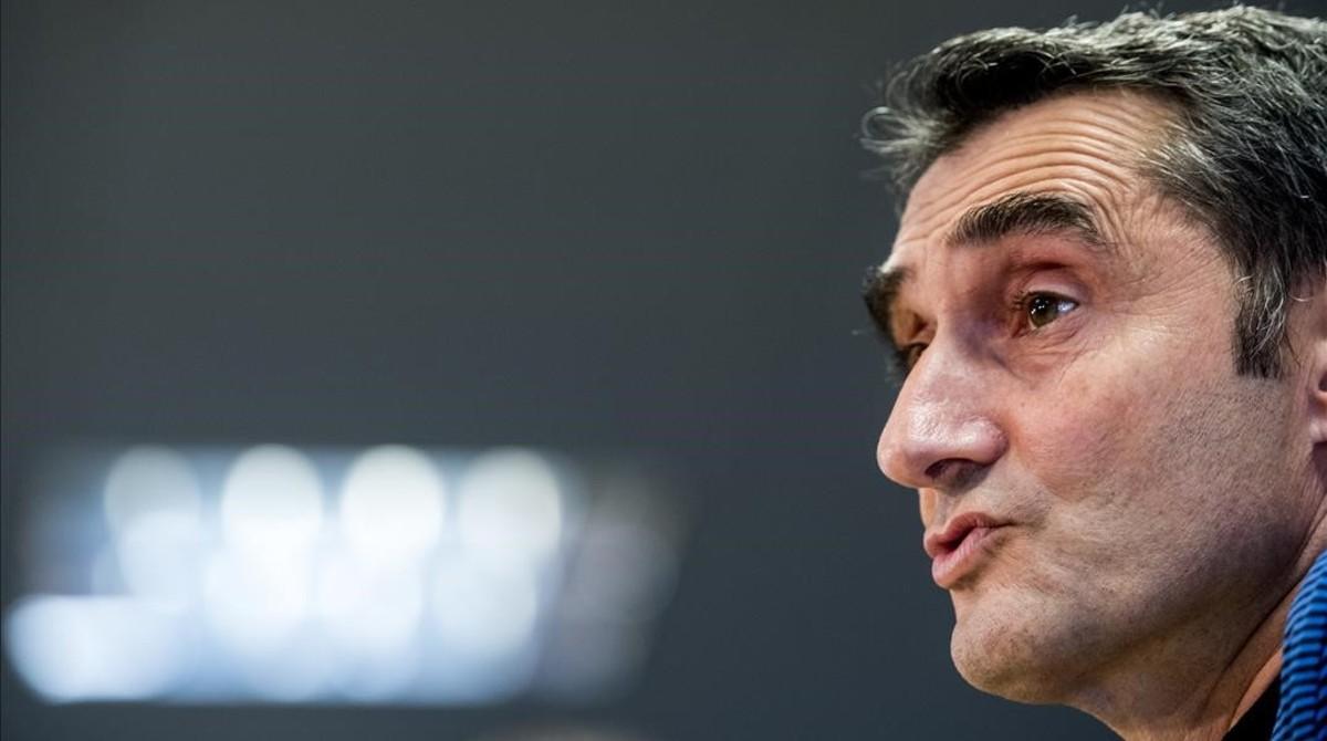 Ernesto Valverde, en la rueda de prensa previa al último partido de Liga.