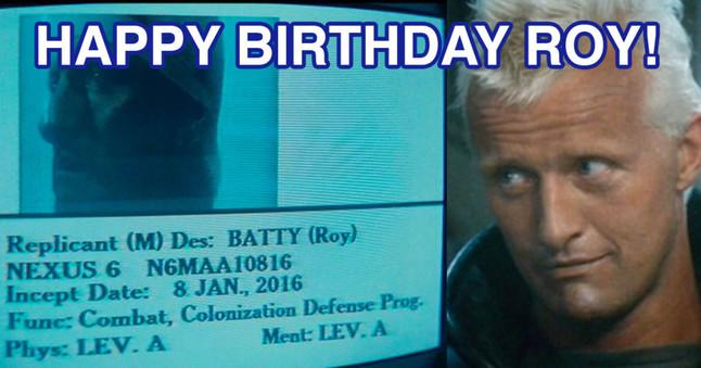 Fotomontaje deseando feliz cumpleaños a Roy Batty, de Blade Runner.