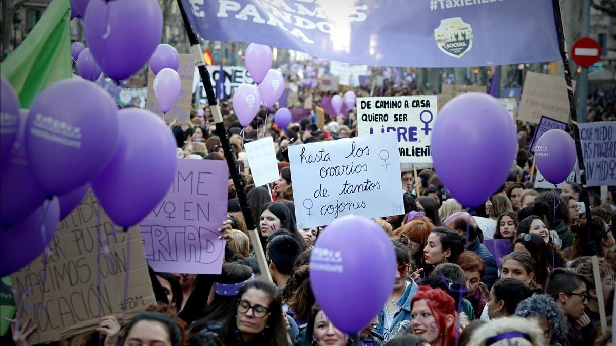 Manifestación del 8 de marzo del 2019 en Barcelona por el Día Internacional de la Mujer.