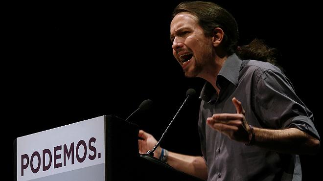 Iglesias repta Rajoy a un cara a cara quan i on vulgui, durant el míting d'aquest dimecres a Madrid.