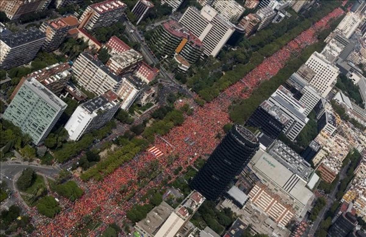 Imagen de la manifestación en la Diagonal de Barcelona