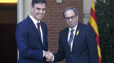 """Sánchez estableix """"les bases"""" amb Torra per """"acabar"""" amb el """"desacord"""""""