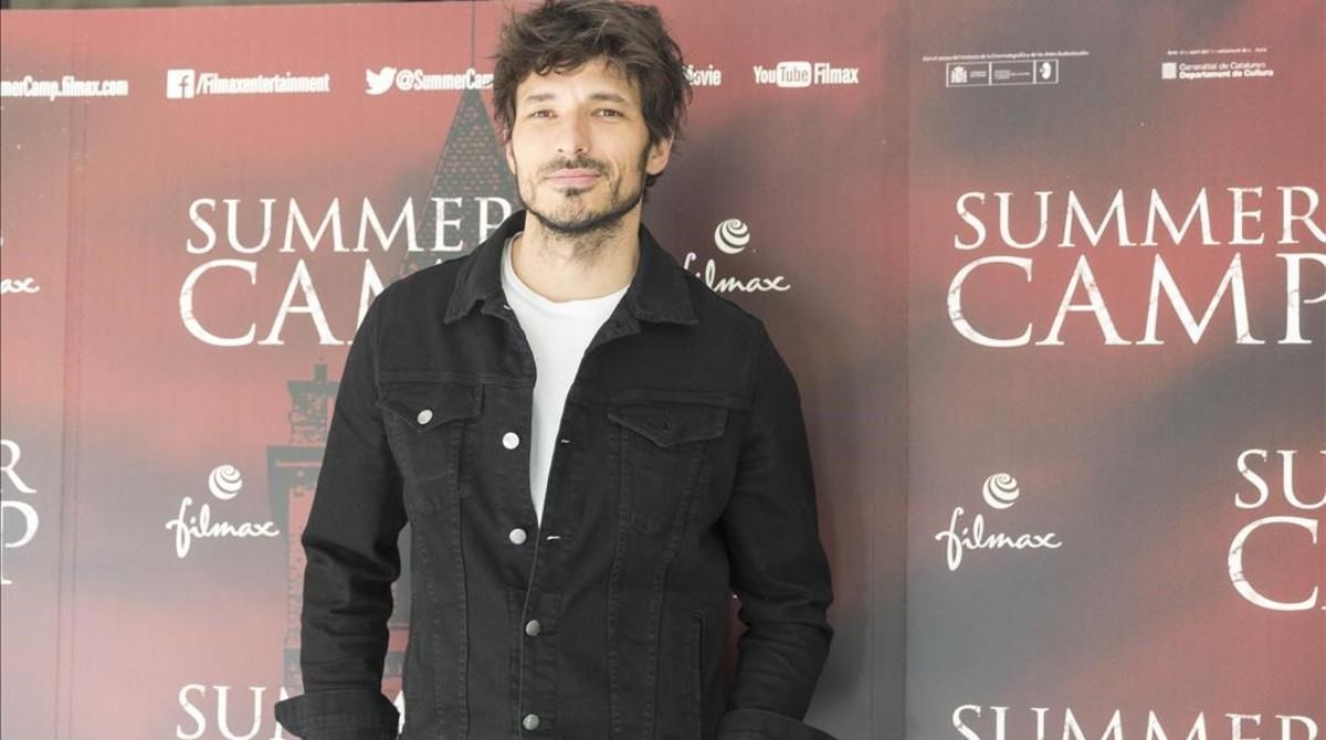 Andrés Velencoso, este miércoles en la presentación de 'Summer Camp', en los cines Texas de Barcelona.