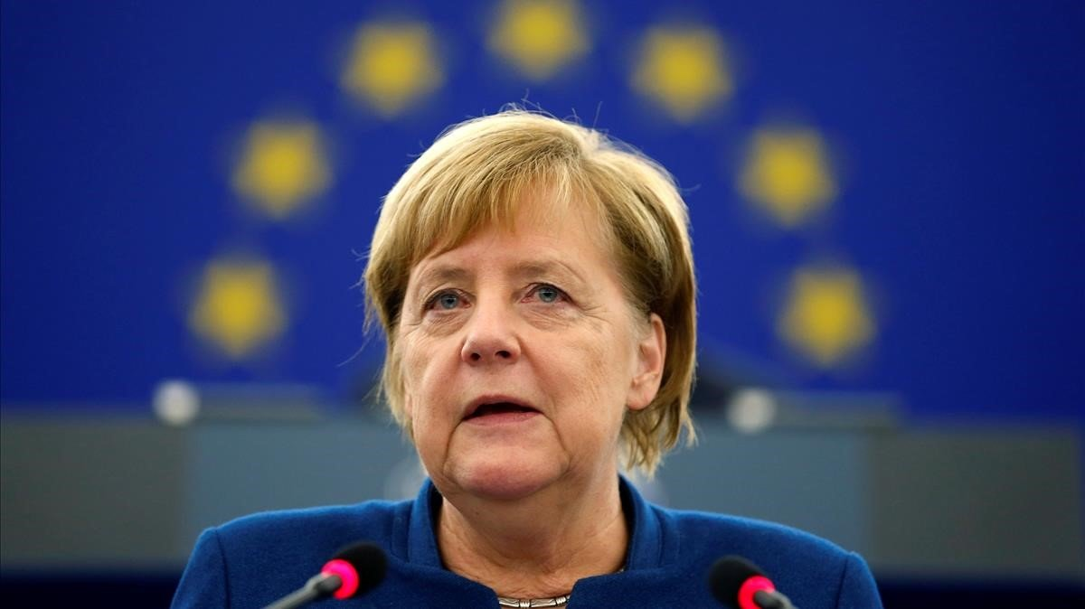 Angela Merkel, en el Parlamento Europeo.