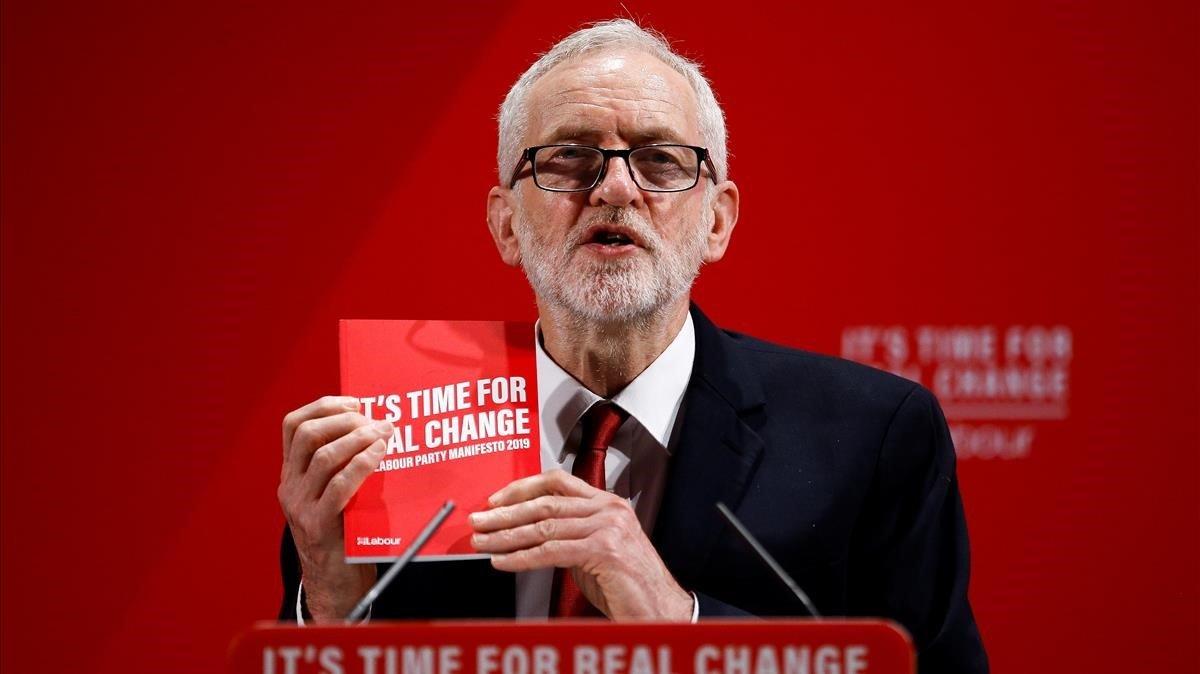 El líder del Partido Laborista, Jeremy Corbyn, durante un mitin en Londres este martes.
