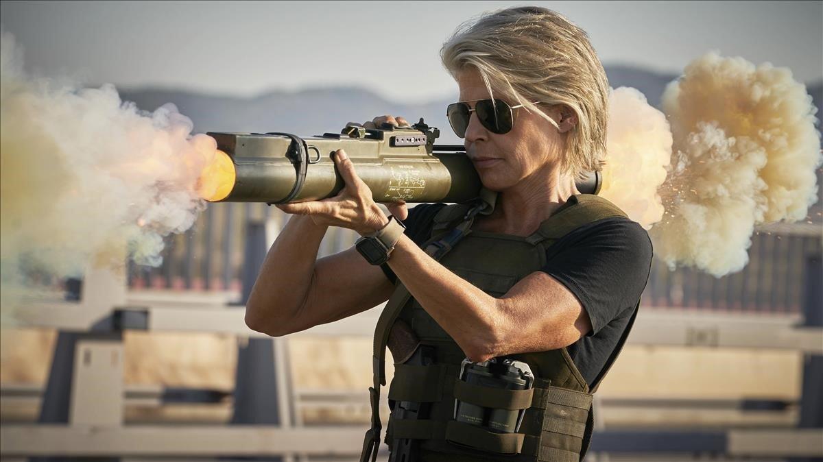 Linda Hamilton, en un fotograma de 'Terminator: Destino oscuro'