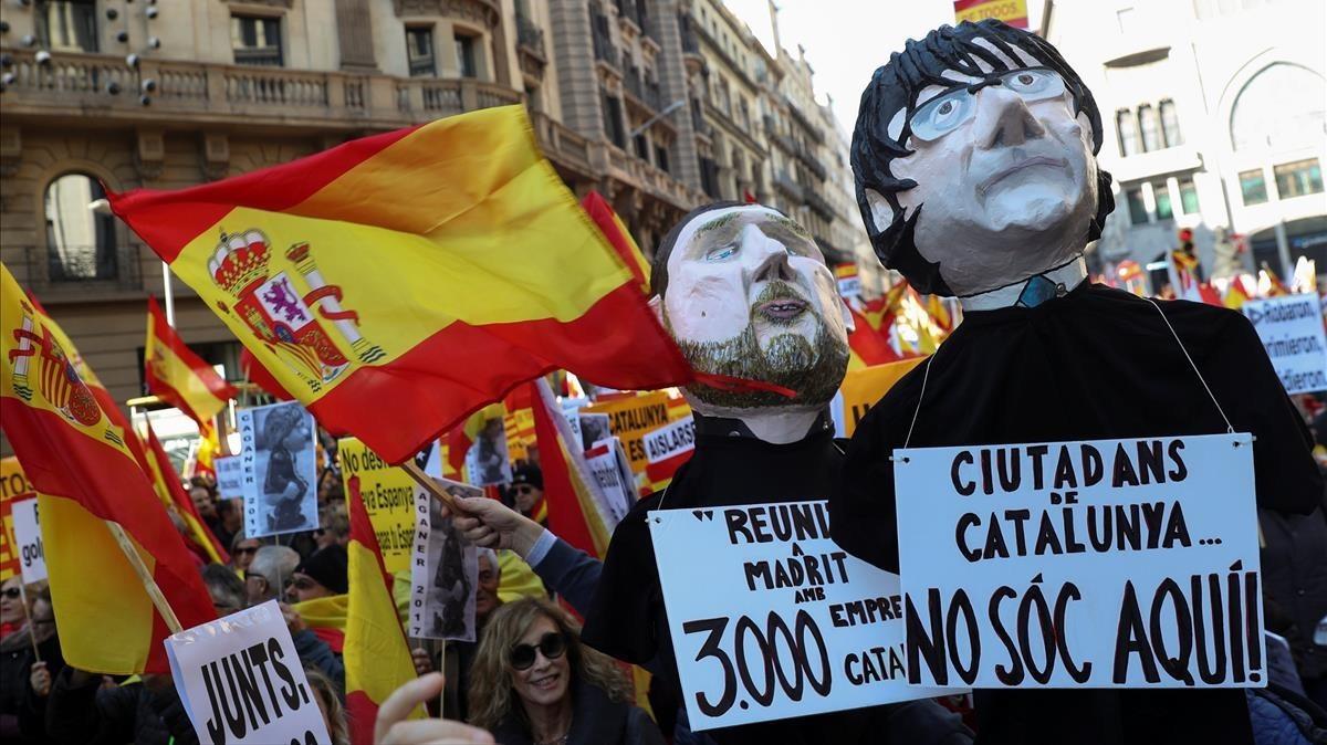 Manifestación en defensa de la Constitución este miércoles en Barcelona.