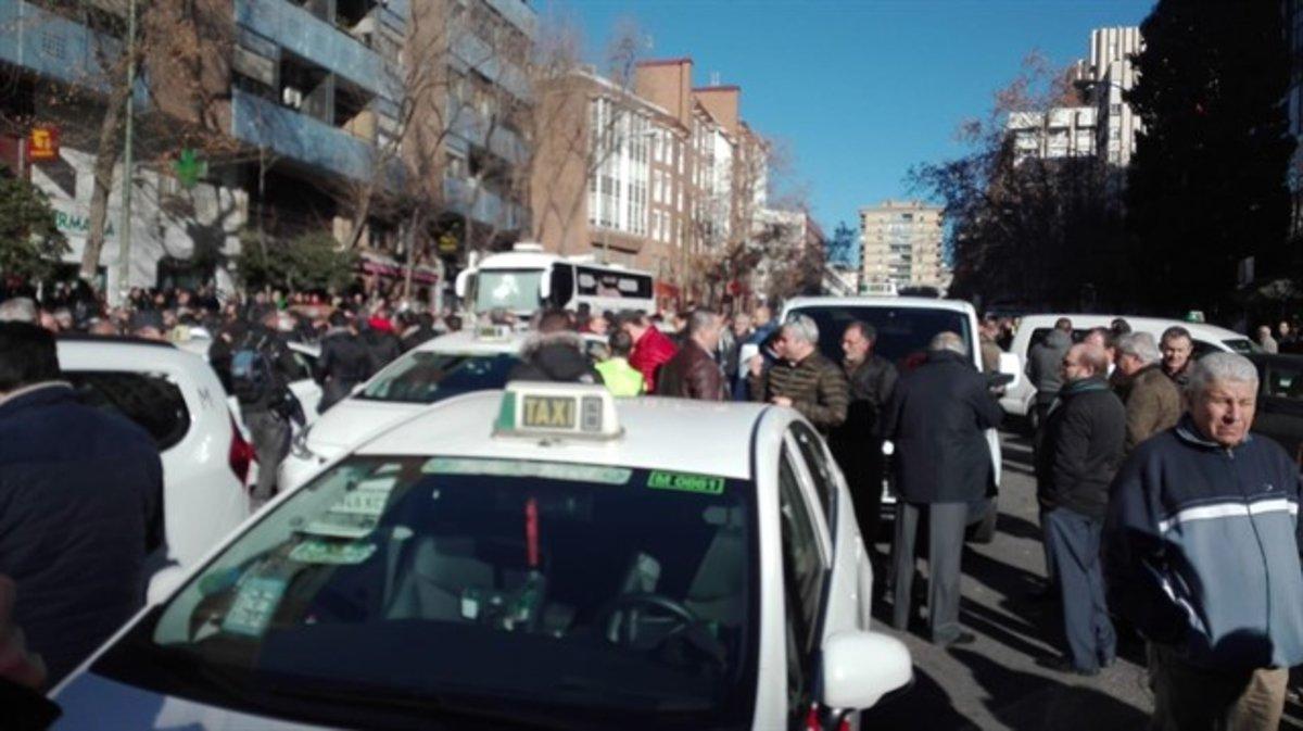 Manifestación de los taxistas.