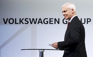 Matthias Müller, presidente de Volkswagen, en Detroit.