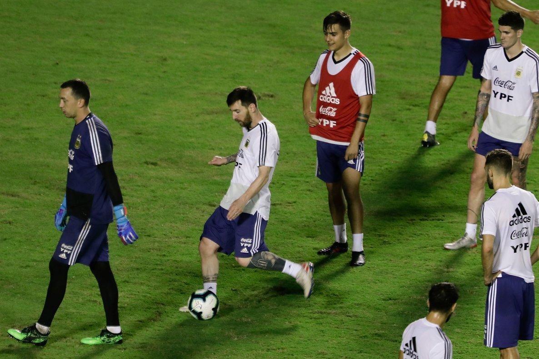 Leo Messi, en el último entrenamiento con Argentina.