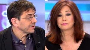 """Juan Carlos Monedero, a Ana Rosa Quintana: """"Influyes más tú en la derecha que yo en Podemos"""""""