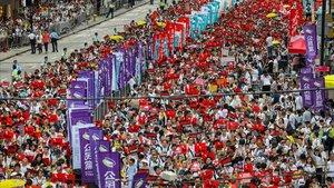 La multitudinaria manifestación que recorrió las calles de Hong Kong el 9 de junio del 2019 y que dio inicio a un año de protestas.