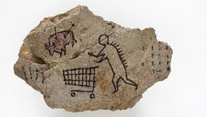 Obra de arte rupestre de Banksy.