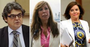 Jorge Moragas, Alicia Sánchez-Camacho y Soraya Sáenz de Santamaría, tres de los dirigentes del PP que JxSí quiere que comparezcan en la comisión de investigación sobre la operación Cataluña.