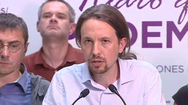Pablo Iglesias, el líder de Podem, fa un discurs davant el seu auge com a quarta força política