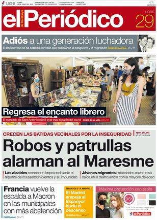 La portada de EL PERIÓDICO del 29 de junio del 2020