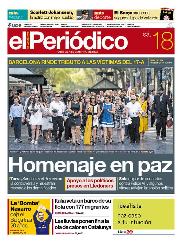 La portada de EL PERIÓDICO del 18 de agosto del 2018