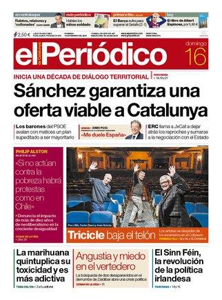 La portada de EL PERIÓDICO del 16 de febrero del 2020.