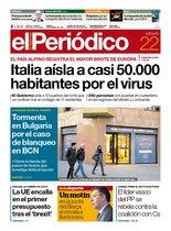La portada de EL PERIÓDICO del 22 de febrero del 2020.
