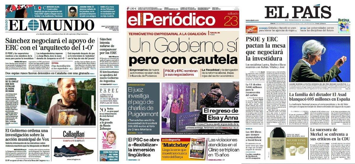 Prensa de hoy: Las portadas de los periódicos del sábado 23 de noviembre del 2019