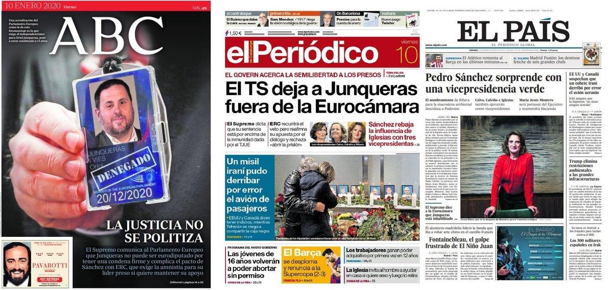 Prensa de hoy: Las portadas de los periódicos del viernes 10 de enero del 2020
