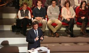 El president Puigdemont, en el Teatre Conservatori de Manresa, en el programa de TV-3 Jo pregunto.